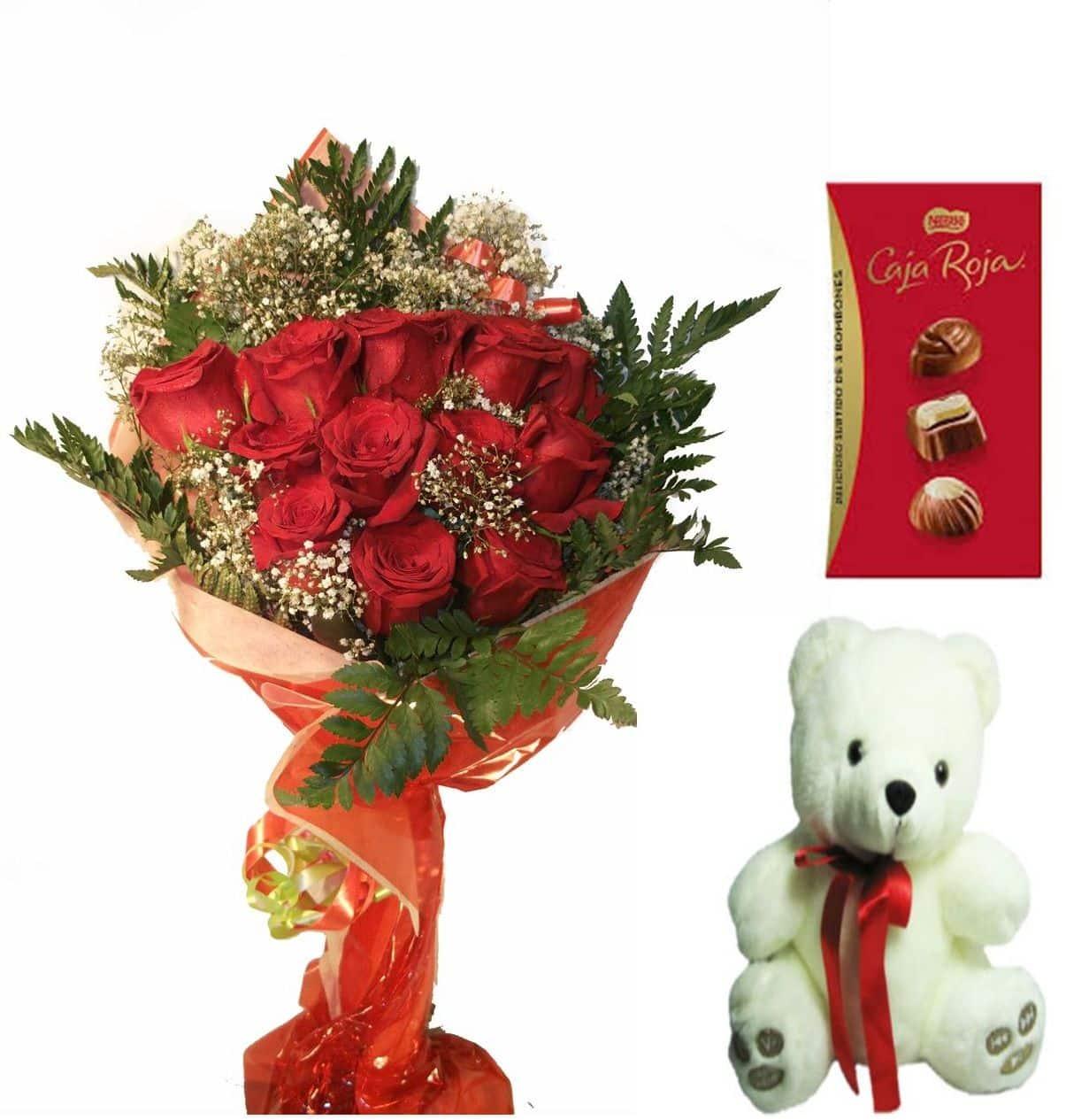 Envio de doce rosas a domicilio con bombones y peluche