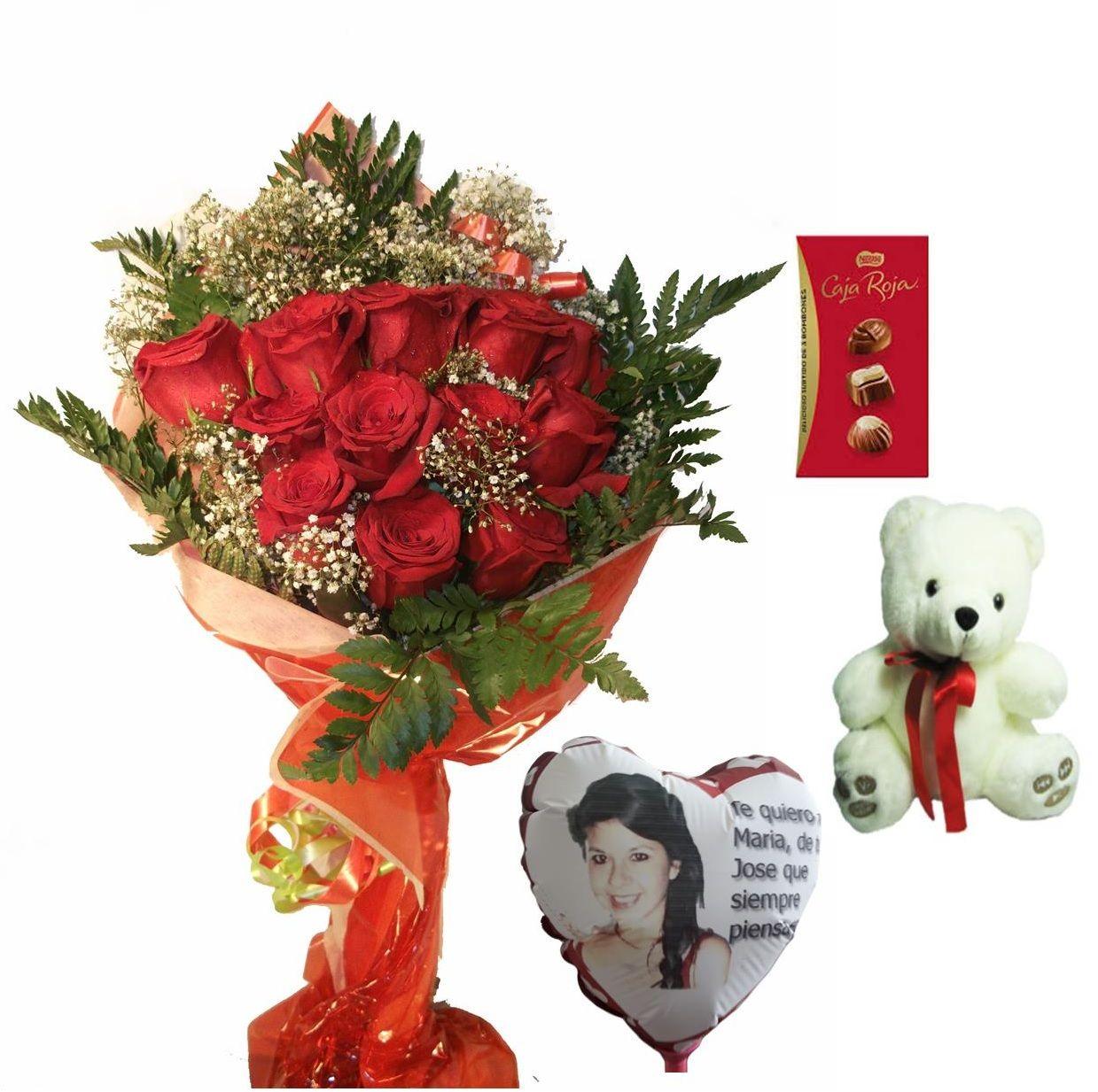 Envio de ramo de doce rosas a domicilio con bombones, peluche y globo personalizado