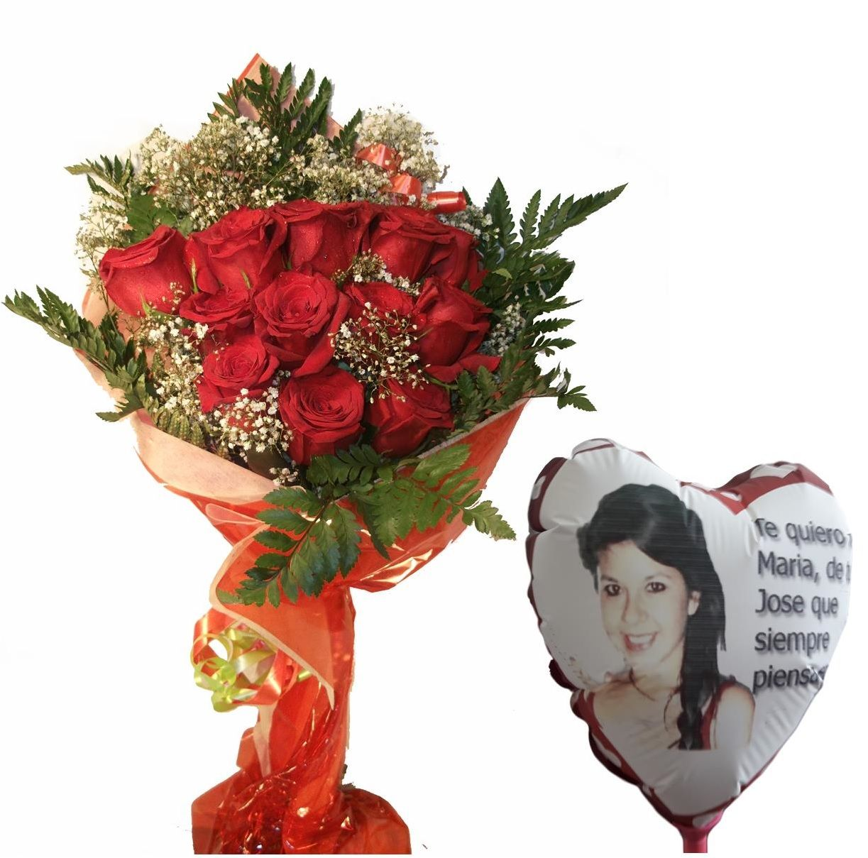 Envio de ramo de doce rosas a domicilio con globo personalizado