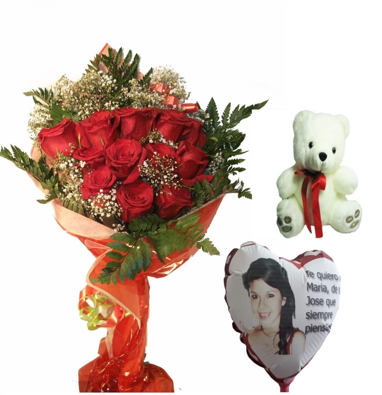 Envio de ramo de doce rosas a domicilio con peluche y globo personalizado