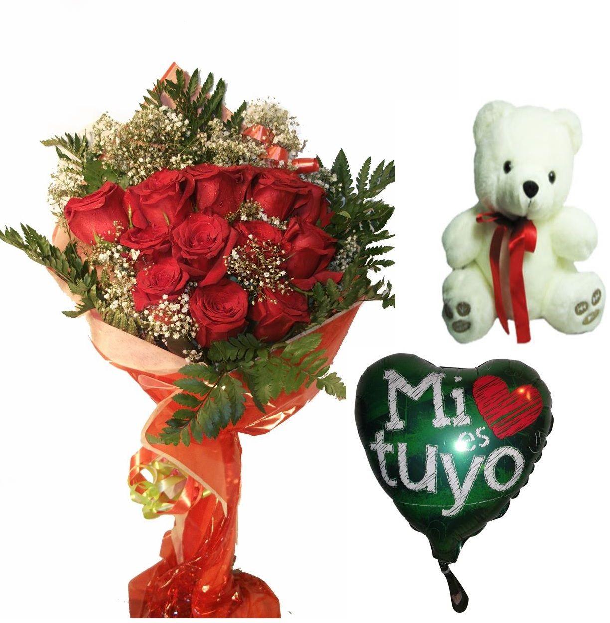 Envio de ramo de doce rosas a domicilio con peluche y globo