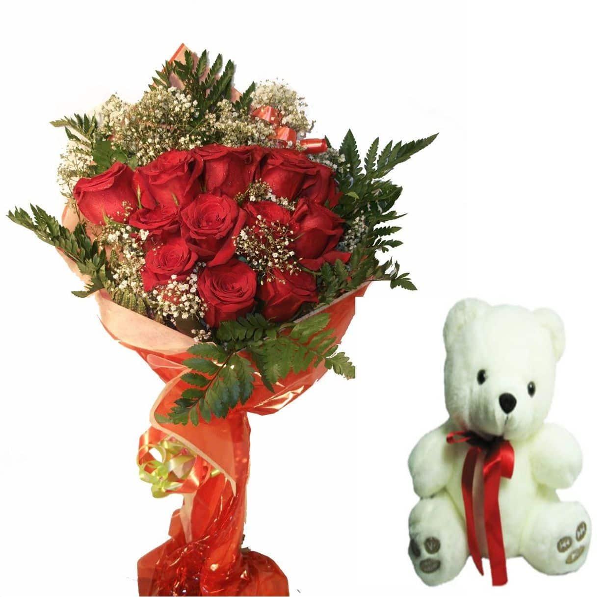 Envio de ramo de doce rosas a domicilio con peluche