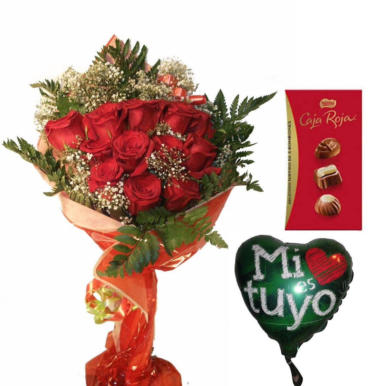 Envio de ramo de doce rosas a domiiclio con bombones y globo