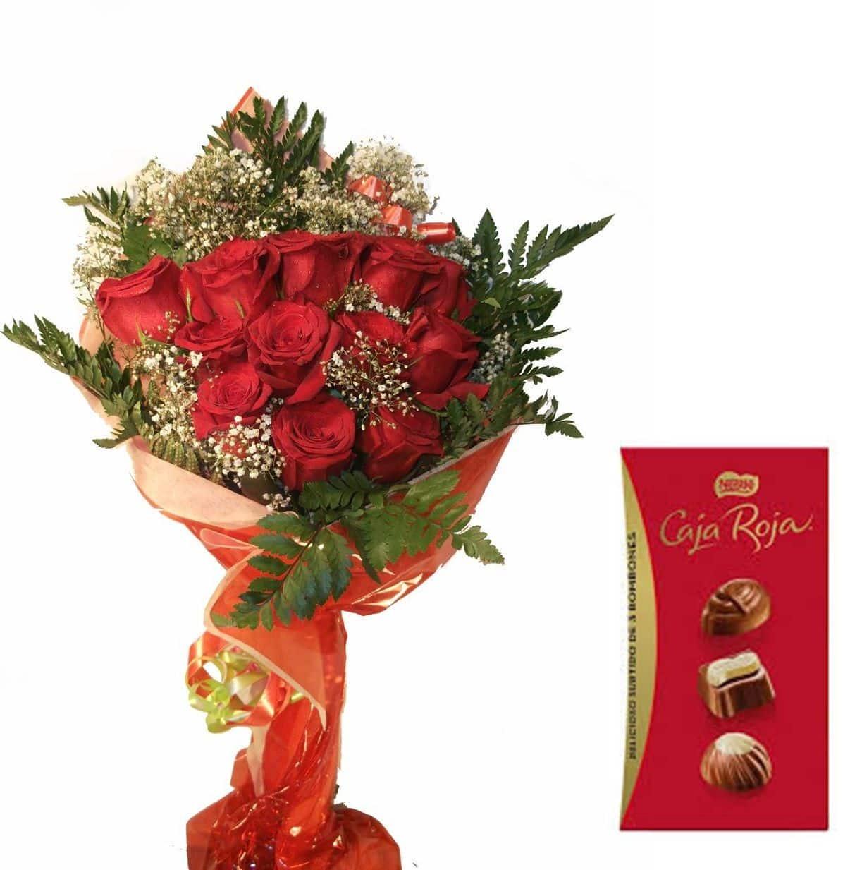 Envio de ramo de doce rosas a domiiclio con bombones
