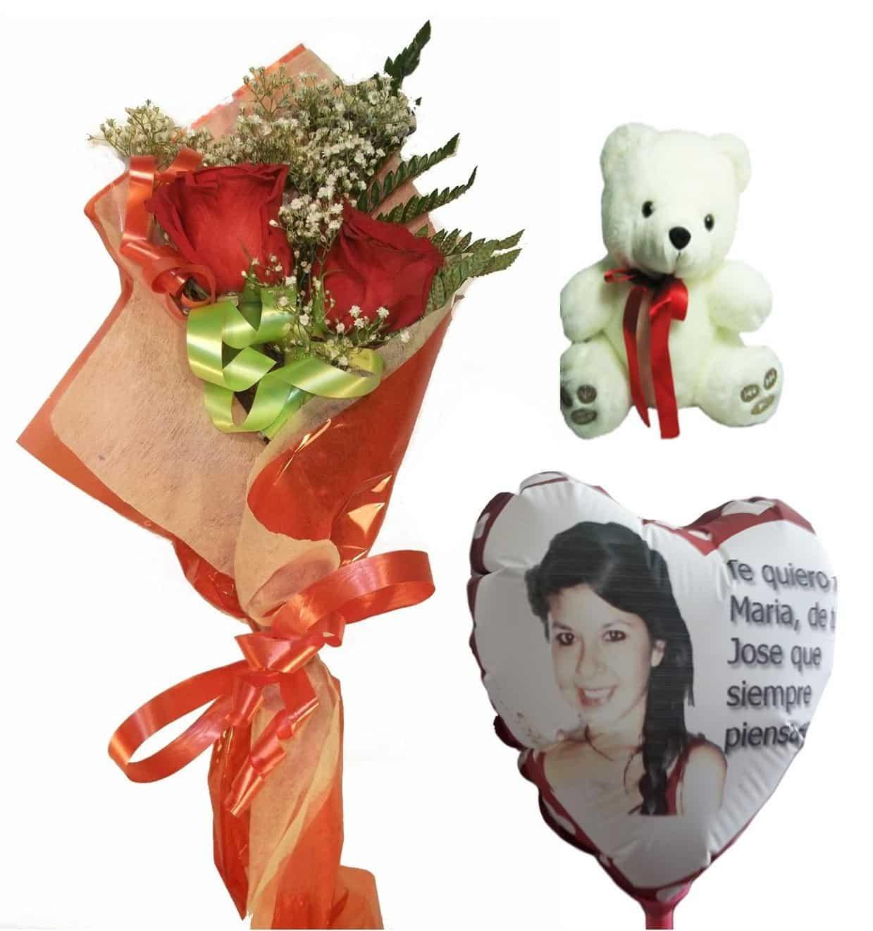 Envio de ramo de dos rosas con peluche y globo personalizado
