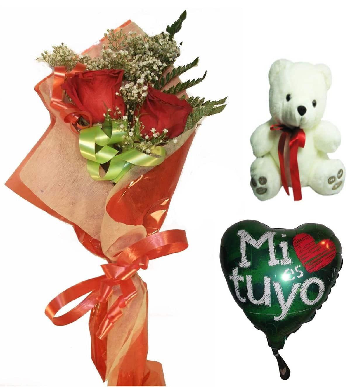 Envio de ramo de dos rosas con peluche y globo