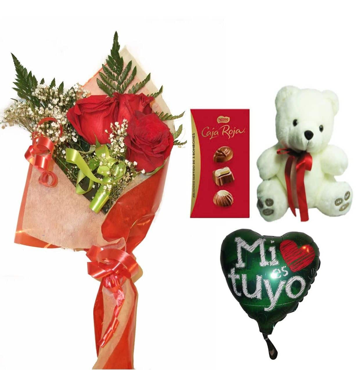 Envio de ramo de tres rosas a domicilio con bombones, peluche y globo a elegir