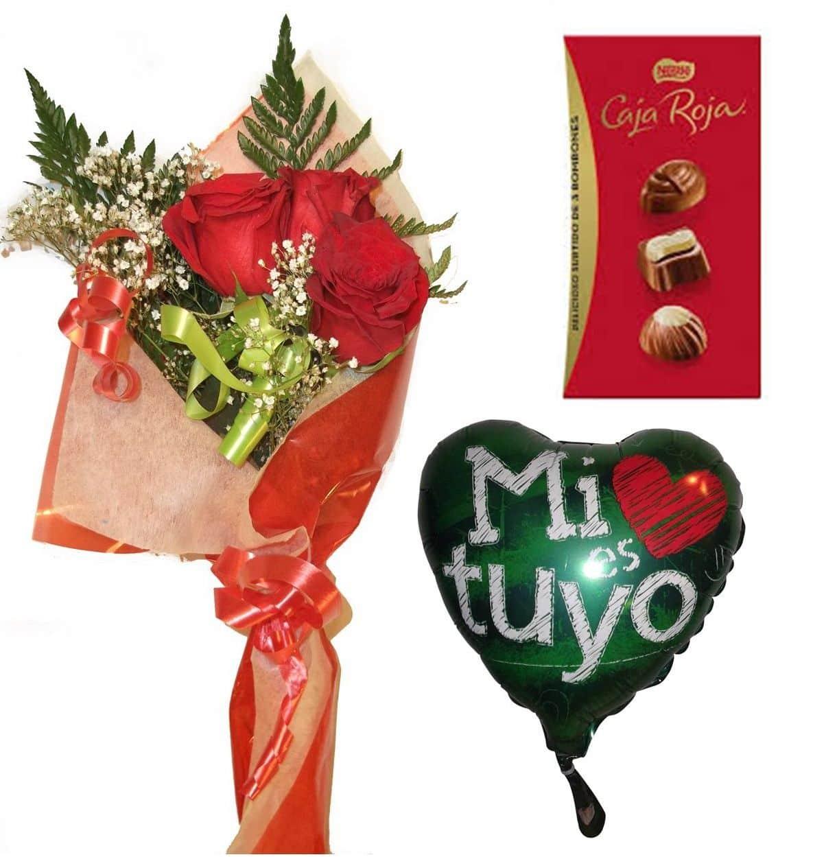 Envio de ramo de tres rosas a domicilio con bombones y globo a elegir
