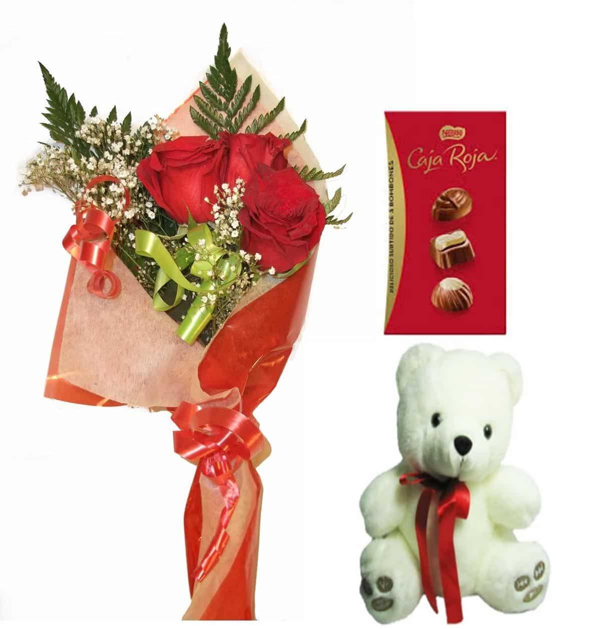 Envio de ramo de tres rosas a domicilio con bombones y peluche