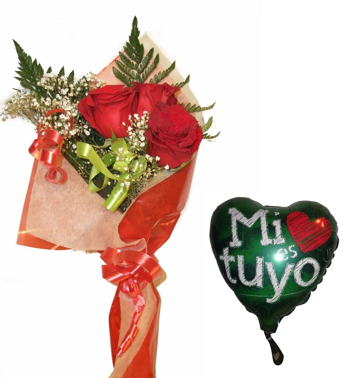 Envio de ramo de tres rosas a domicilio con globo a elegir