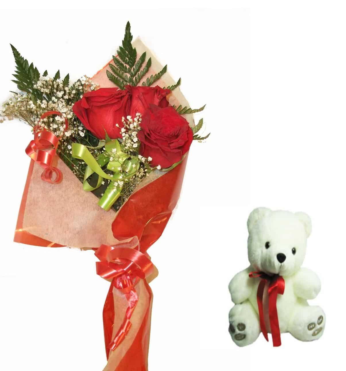 Envio de ramo de tres rosas a domicilio con peluche