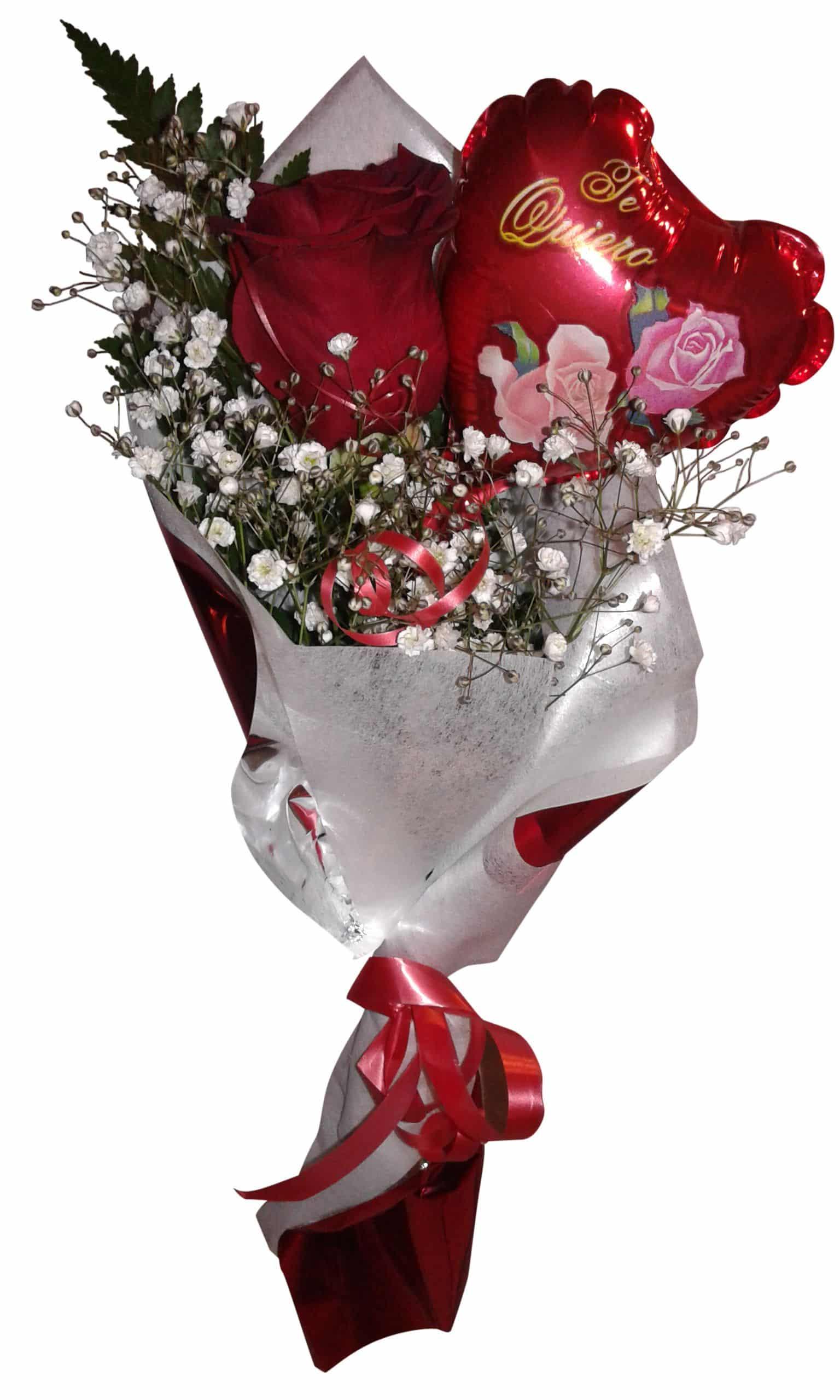 envio de rosa a domicilio con globo