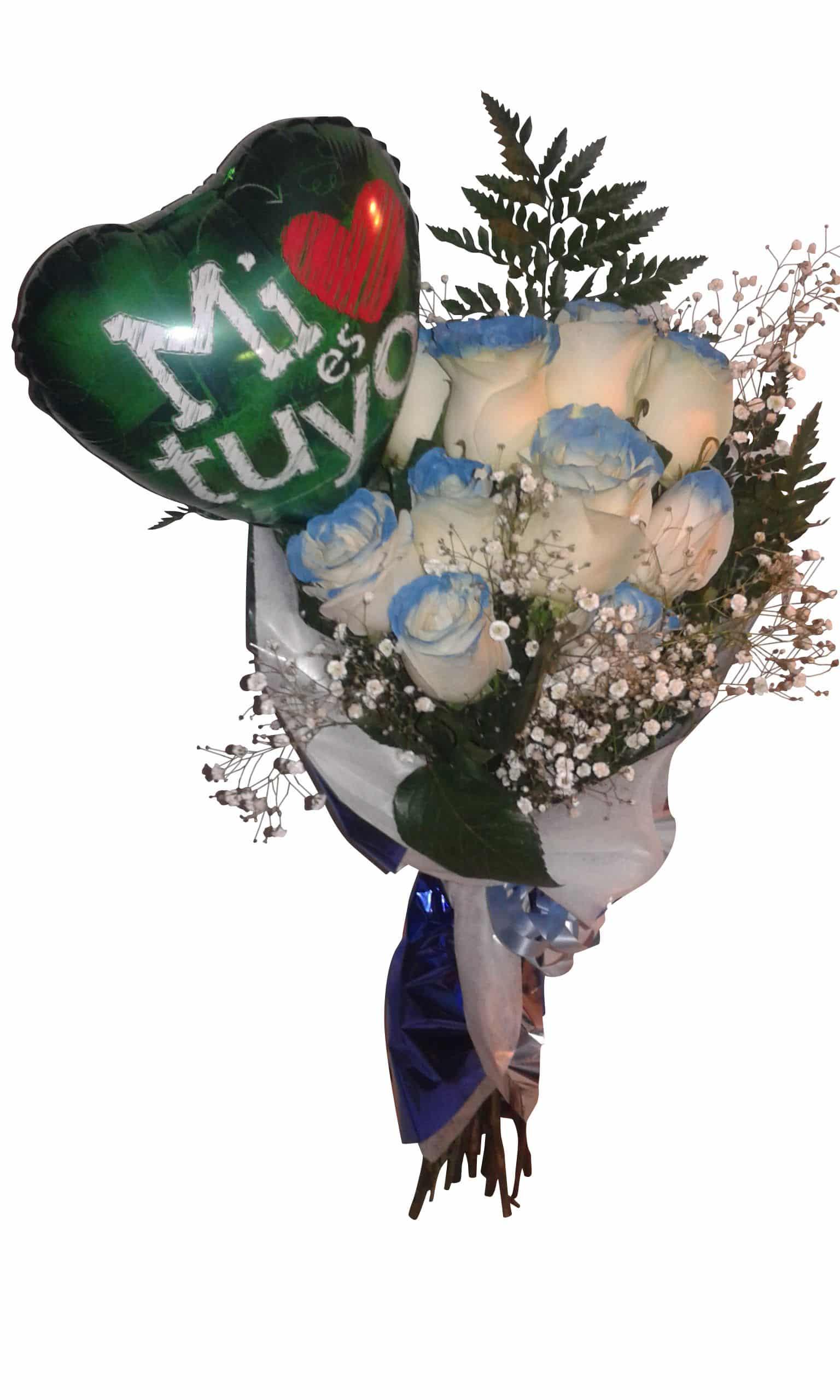ramo de rosas azules con globo