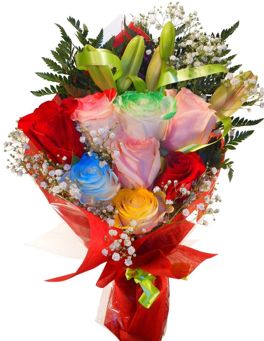 ramo de rosas colores variados