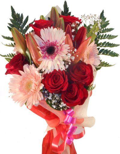 ramo de rosas, gerberas y liliums